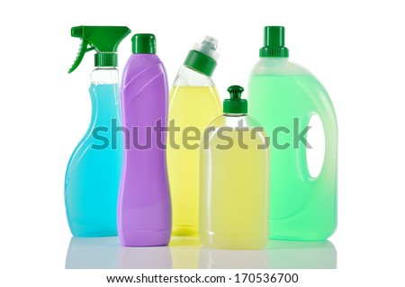 Set of cleaning products. Spray blue Cleaner, wc cleaner, washing liquid and cream cleaner isolated on white background.