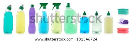 Set of cleaning products. Spray cleaner, WC cleaner, washing liquid, cream cleaner, sponge and roll of garbage bag isolated on white background.