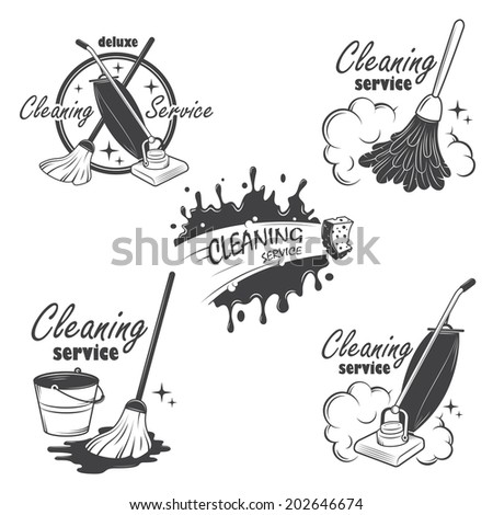 Set of cleaning service emblems, labels and designed elements. - stock photo