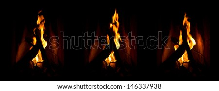 Set of 3 : Close up of a log / wood fire in an open fireplace