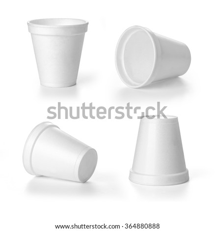 set of close up of coffee cup on white background - stock photo