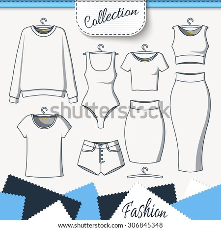 Set of clothes to create design on white background. Sweatshirt and T-shirt. T-shirt and shorts. Swimsuit. Suit with skirt. Template clothing - stock photo