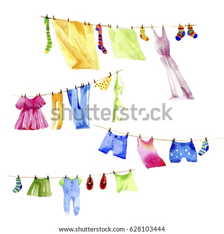 Set of clothes washings ?n a rope. Watecolor illustration on white background.