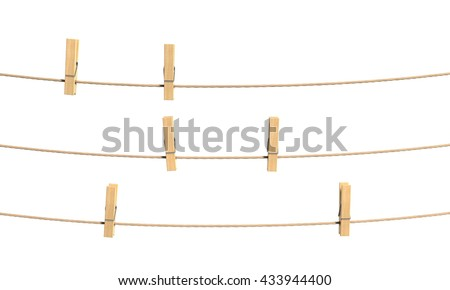 Set of clothespin on the rope. 3d illustration