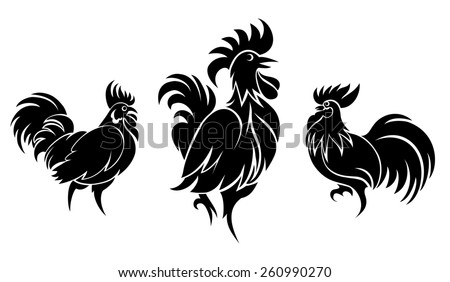Set of cocks silhouettes for logo or tattoo. Animal and bird - stock photo