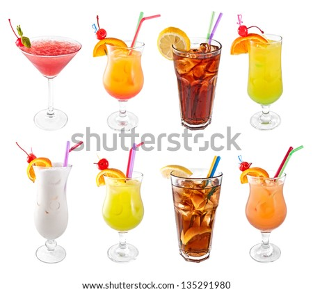 Set of cocktails isolated on white background - stock photo