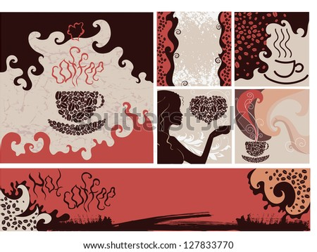 Set of coffee backgrounds for design - stock photo