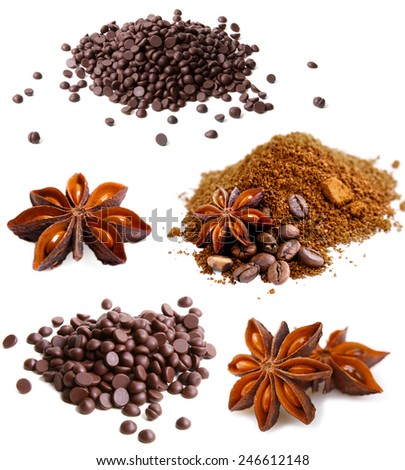 Set of coffee beans, dark chocolate, cinnamon and anise - stock photo