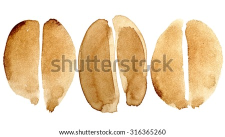 Set of coffee beans isolated on white background painted in real coffee - stock photo