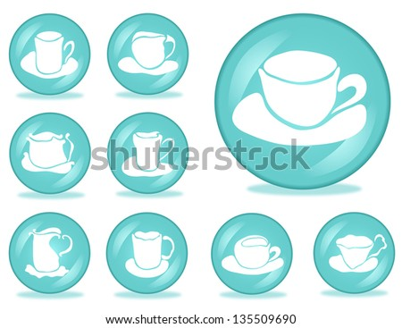 set of 9 coffee buttons for your design - stock photo