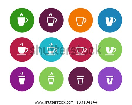 Set of coffee cup circle icons. See also vector version. - stock photo