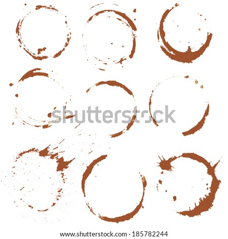 Set of  Coffee Stain, Isolated On White Background. Each one is shot separately. Raster version - stock photo