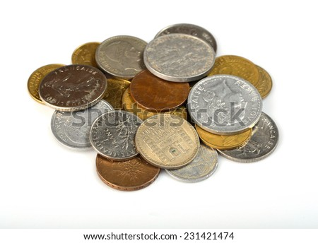 set of coins France - stock photo