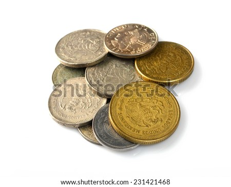 set of coins Mexico - stock photo