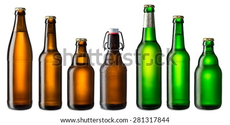 set of cold brown and green beer bottles - stock photo