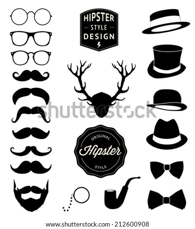 set of collection vintage fashion elements - stock photo