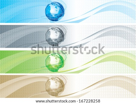 Set of color banners with binary code and globe. Abstract color backgrounds with binary code  and globe for internet banners - stock photo