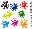 Set of Color Blots on White Background. Rasterized Version - stock photo