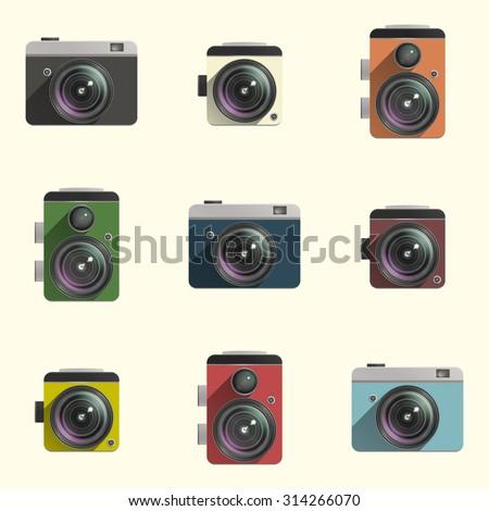 Set of color cameras on white background. Raster version - stock photo