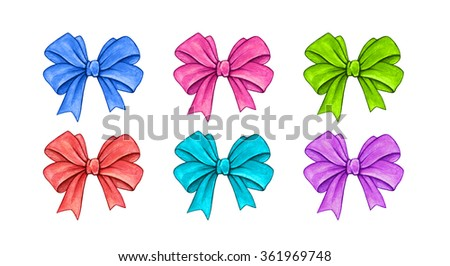 Set of color gift bows isolated on a white background. Watercolor lovely drawing. Handwork
