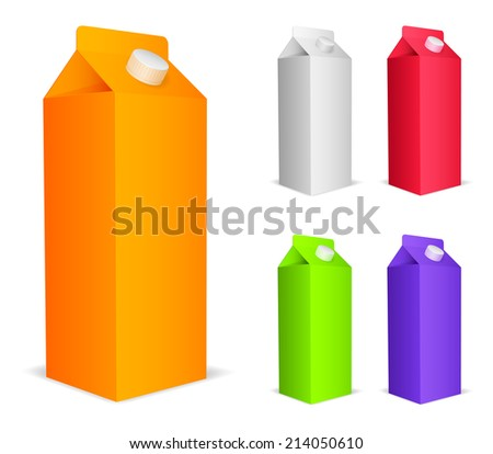 Set of 5 color juice packs.