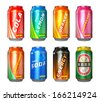 Set of color metal drink cans with cola, lemon, orange, raspberry, grapefruit, soda, energy drink and beer isolated on white background - stock vector