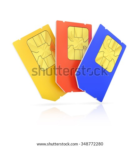 Set of color Mini SIM cards, isolated on white background