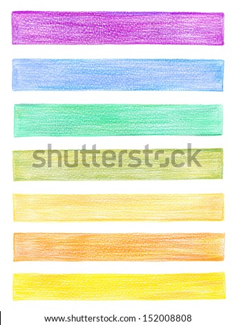 set of color pencil graphic elements - stock photo
