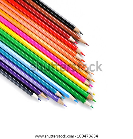 Set of color pencil isolated on white background - stock photo