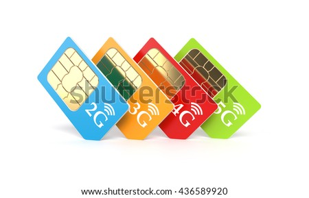 Set of color SIM cards with 2g, 3g, 4g, 5g technology icon isolated on white background. 3d rendering illustration