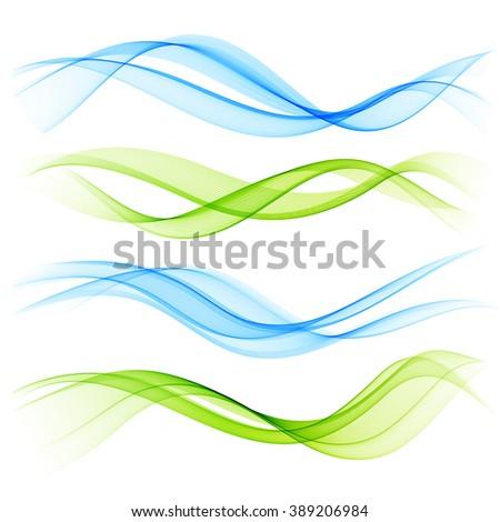 Set of color wave. Blue wave. Green wave. Wave design element. Color wave.Transparent wave. Smoke wave. Abstract Wave. Wave design. Dynamic Wave.  - stock photo