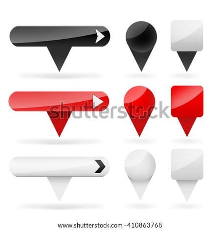 Set of color web labels - buttons - tags - components on the white background - stock photo