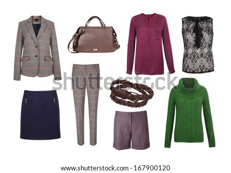 Set of color women clothes isolated on white - stock photo