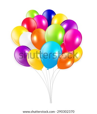Set of Colored Balloons,  Illustration. EPS 10