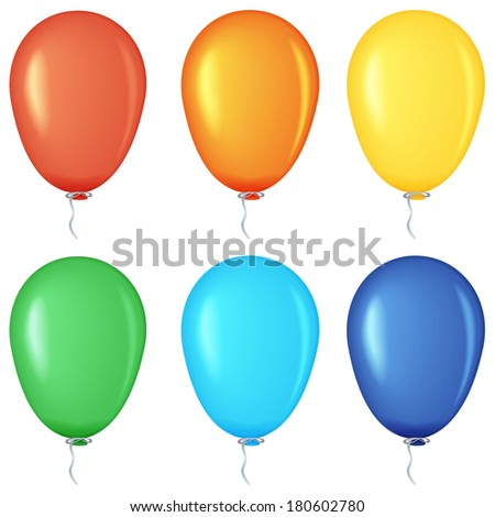 Set of colored balloons, raster graphics.