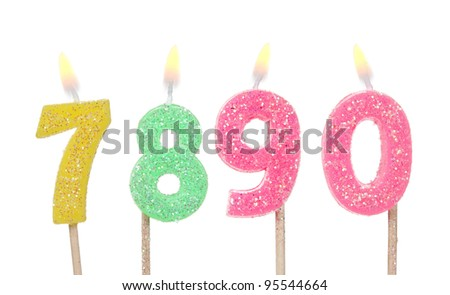 Set of colored birthday candles isolated on white - stock photo