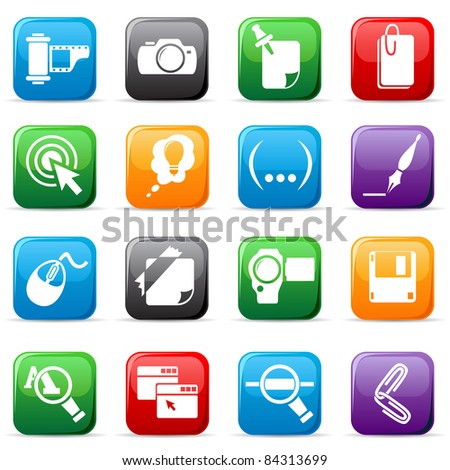 Set of colored buttons on white background, illustration - stock photo