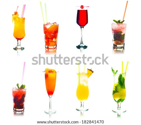 set of colored cocktails with fruits, wine, mint and ice isolated on white background