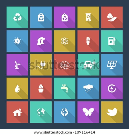 Set of colored ecology icons on square background