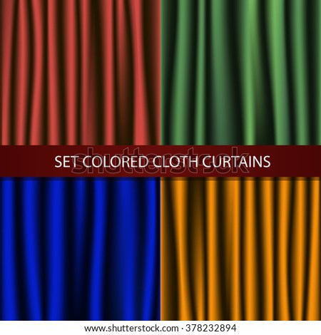 set of colored fabric curtains