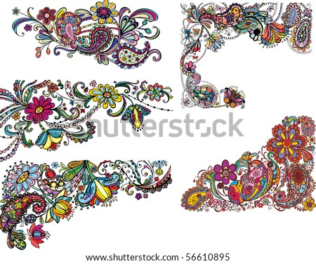 set of colored floral corners