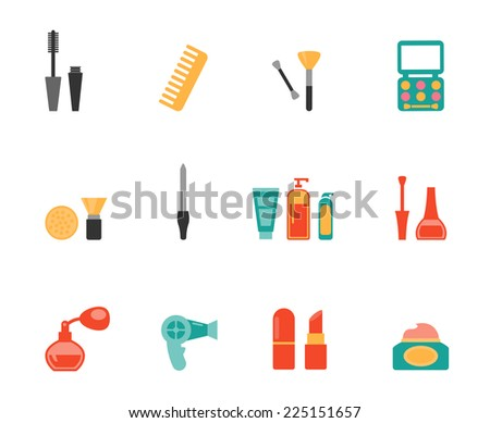 Set of colored hairstyling and makeup flat icons showing mascara  comb  hairdryer  perfume  lipstick  nail varnish  containers  brushes  compact  eye-shadow and blusher