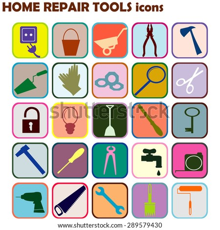 Set of colored icons with home repair tools - stock photo