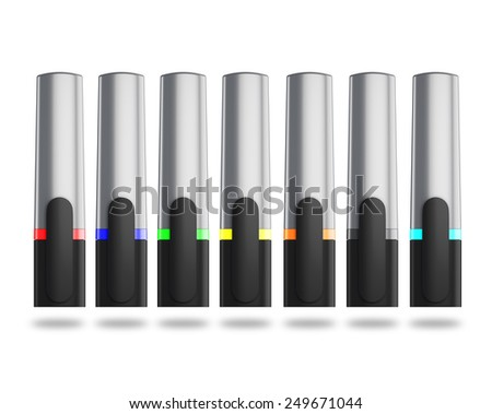 Set of colored markers with cap isolated on white background. Markers front view.