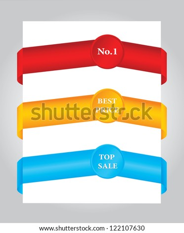 Set of colored paper tags - stock photo