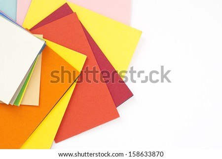 set of colored papers