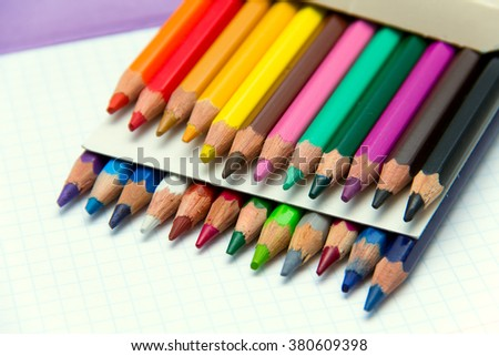 Set of colored pencils. Colorful used crayons