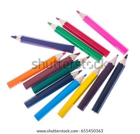 Set of colored pencils on white background for professional or school use. Studio Photo