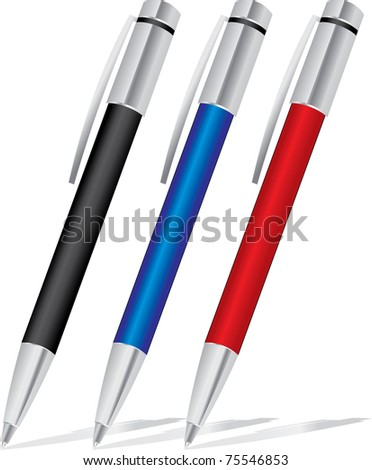 set of colored pens: blue, black and red - stock photo