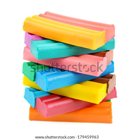 set of colored plasticine isolated on white background
